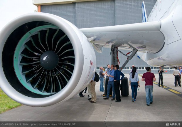 First Airbus A320neo with Pratt & Whitney Pure Power PW1100G-JM Geared Turbo-Fan (GTF) engine. Photo courtesy Airbus.