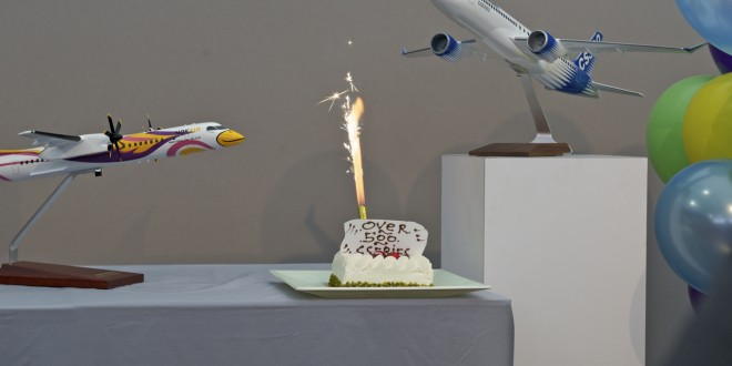 A cake to celebrate the 500th commitment for the CSeries aircraft.
