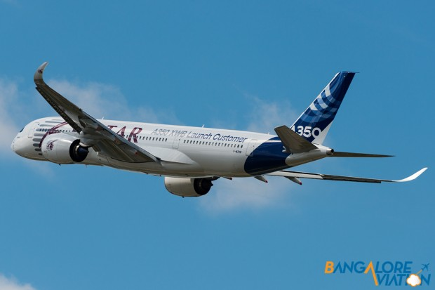 "Airbus A350-900 ""Qatar Airways Hybrid Livery"". Seen doing a flypast on day 1 of Farnborough 2014."