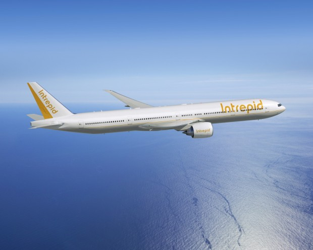 Computer generated image of the Boeing 777-300ER in Intrepid colours. Boeing Image.