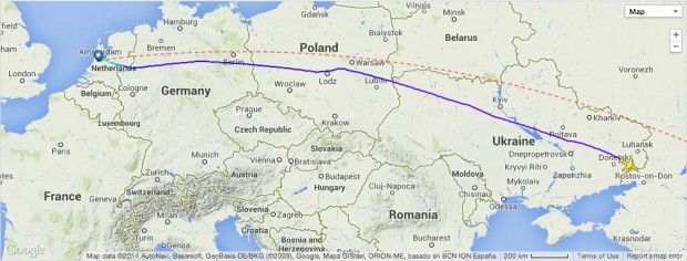 Malaysia Airlines MH17 route map from Amsterdam to LOC point (Loss of contact)