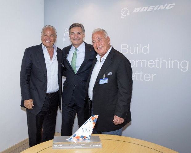 (L-R) Ralph Nakash, President, MG Aviation, Ray Conner, president and CEO, Boeing Commercial Airplanes and Joe Nakash, Chairman, MG Aviation.