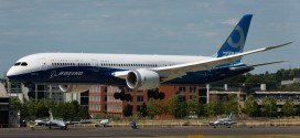 Boeing 787-9 Dreamliner. Seen landing after it's display on day one of Farnborough 2014.