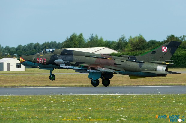 Polish Air Force Sukhoi Su-22M-4 Fitter 3216. Taking off for a display with it's sister plane.
