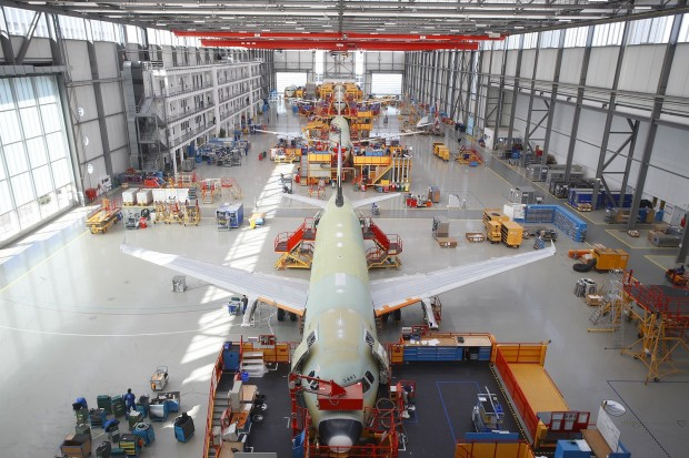 Airbus A320 final assembly line at Hamburg, Germany.