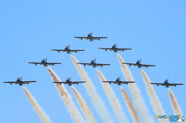 Frecce Tricolori performing a flypast with the entire team.