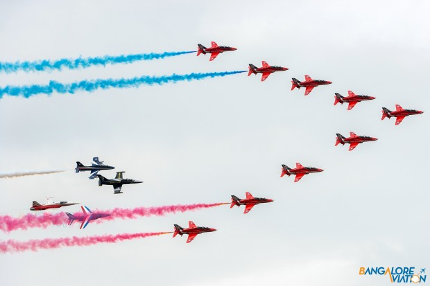 The second pass of the flypast with the entire formation making a large sweeping right hand turn.