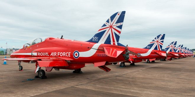 BAE Hawks of the Red Arrows, sporting a special 50th anniversary tail livery.