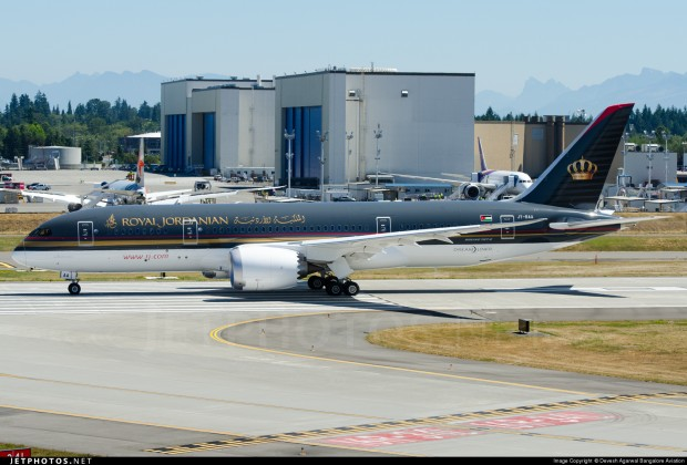 Royal Jordanian Airlines' first Boeing 787-8 Dreamliner JY-BAA. Returning from high speed taxi and brake testing at Paine Field, Everett.