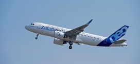 First Airbus A320neo F-WNEO MSN6101 takes off on its first flight at Toulouse Blagnac airport.