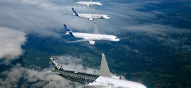 All five aircraft of the A350-900 test fleet in formation flight. Image courtesy Airbus.