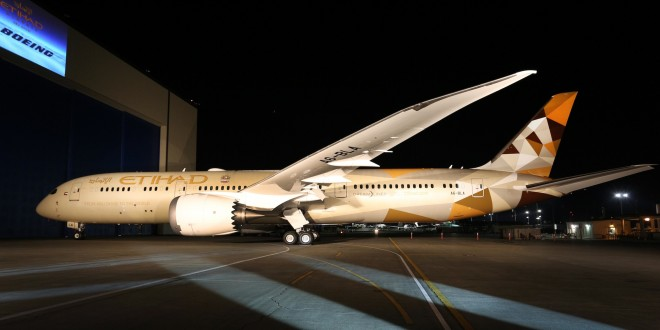 Etihad unveils 'Facets of Abu Dhabi' livery on its first Boeing 787-9 Dreamliner A6-BLA as it rolls out of the paint hangar at Paine Field, Everett, WA.