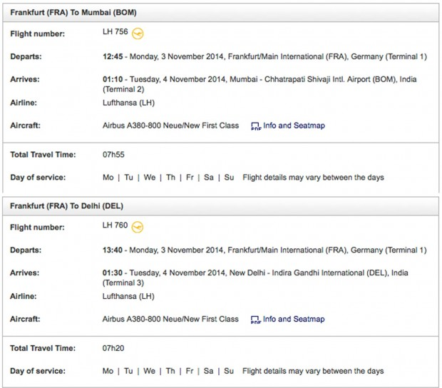 Lufthansa winter 2014 schedule. Online time-table for November 3rd and 4th 2014. Flights Frankfurt to Mumbai and New Delhi