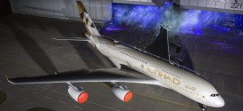 Etihad 'Facets of Abu Dhabi' livery on its first Airbus A380.