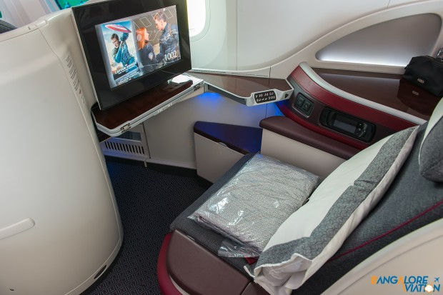 A business class seat on the Qatar 787.
