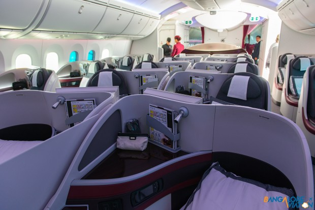 Business class cabin on Qatar's 787.