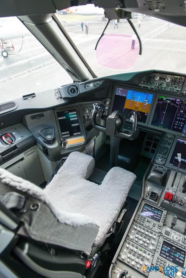 The Captains seat in the cockpit of the Boeing 787.