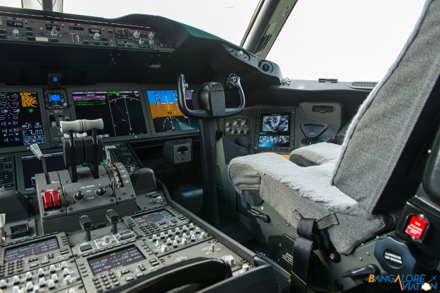 The right seat (Co-pilots) in the cockpit of the Boeing 787.