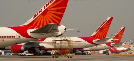 A tail parade of each of Air India's Boeing aircraft as in 2011. The 747-400, 777-300ER, 777-200LR and 737-800.