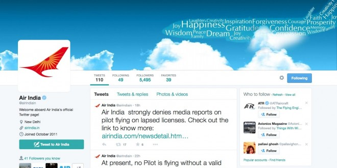 Air India's official Twitter page