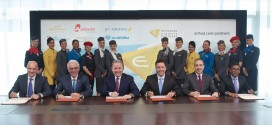 (Left to right): Maurizio Merlo, CEO Darwin Airline; Wolfgang Prock-Schauer, CEO airberlin; James Hogan, President and CEO Etihad Airways; Cramer Ball, CEO Jet Airways; Dane Kondić, CEO Air Serbia, Manoj Papa, CEO Air Seychelles; at the launch of Etihad Airways Partners.