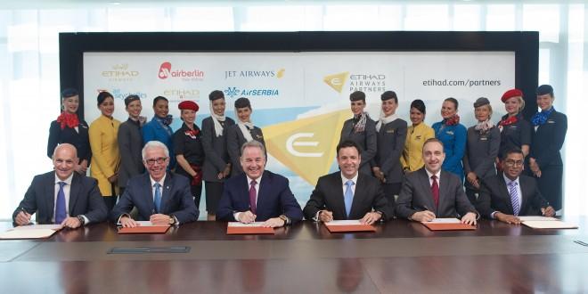 (Left to right): Maurizio Merlo, CEO Darwin Airline; Wolfgang Prock-Schauer, CEO airberlin; James Hogan, President and CEO Etihad Airways; Cramer Ball, CEO Jet Airways; Dane Kondić, CEO Air Serbia, Manoj Papa, CEO Air Seychelles; at the launch of Etihad Airways Partners.