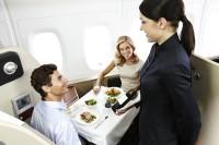 Qantas A380 first class meal service. Qantas image.