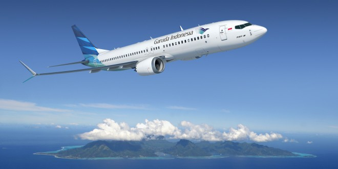 A CGI of a Garuda Indonesia Boeing 737 MAX 8. Boeing Image.