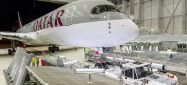 Airbus A350-900 MSN6 first aircraft for launch customer Qatar Airways A7-ALA being readied in the paint hangar.