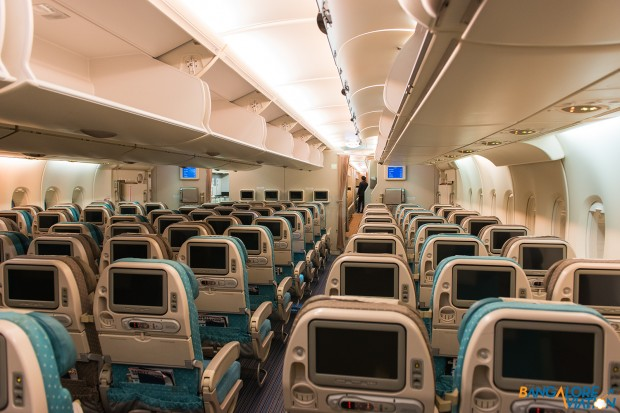 Singapore Airlines A380 3-4-3 economy class.