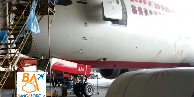 Air India Boeing 787-8 Dreamliner VT-ANI sits forlorn with its radome removed.