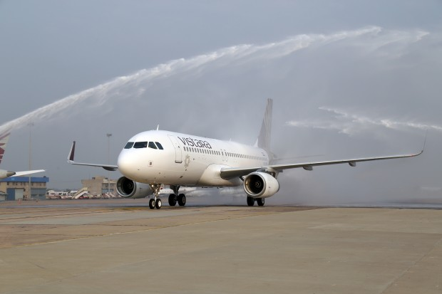Vistara Airlines, Airbus A320 VT-TTB in its official livery receiving water cannon salute.