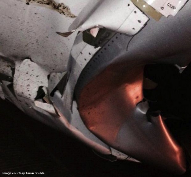 Damaged to left CFM56 engine of SpiceJet Boeing 737-800 VT-SGK which suffered accident at Surat.