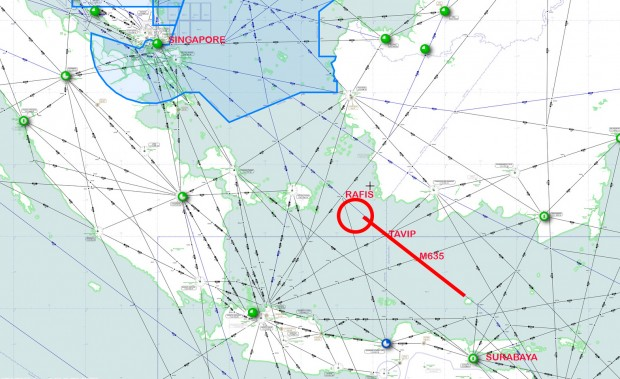 Estimated flight path of AirAsia flight QZ8501 gone missing on December 28, 2014. On airway M635 between TAVIP and RAFIS.