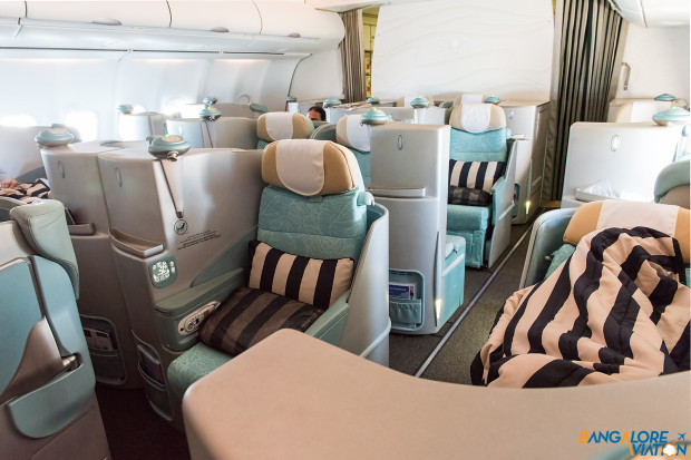 The staggered seating in Etihad's Business class.