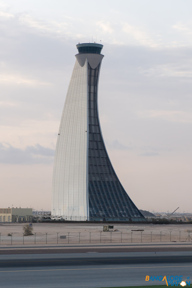 The iconic tower of Abu Dhabi airport.