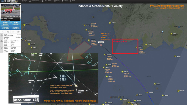 Flightradar24 plot of the vicinity of QZ8501