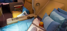 Singapore Airlines A380 business class. Photo by Devesh Agarwal.