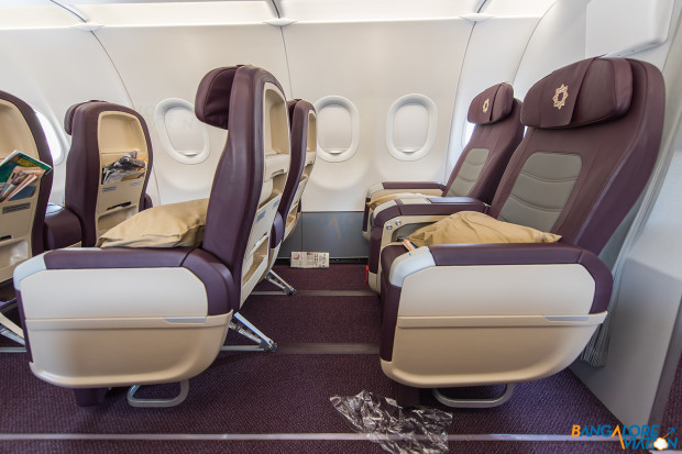 Tata-SIA Airlines Vistara A320 business class cabin, seat spacing and recline.