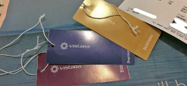 Inaugural flight of Vistara, Tata-SIA airline. Cabin luggage tags for the Business, Premium Economy, and Economy class.