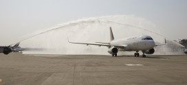 Vistara VT-TTB welcomed at Mumbai CSI airport with the traditional water cannon salute.