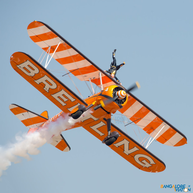 One of the Breitling Wing Walkers during their display.