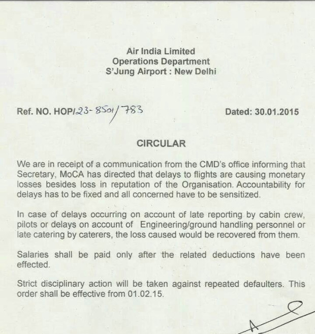 Air India Executive Director (Operations) Capt. A.K. Govil issued memo