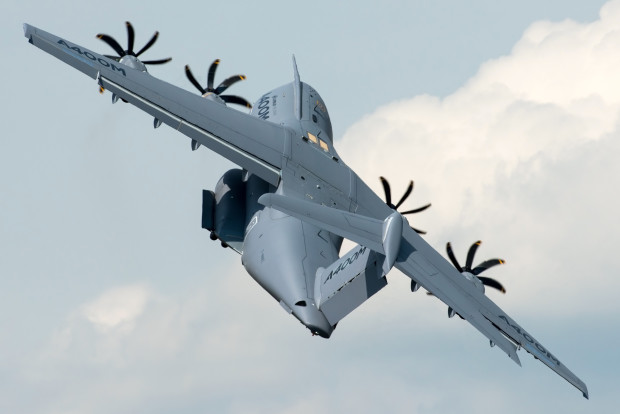 An Airbus A400M F-WWWZ performing a display at RIAT 2014.
