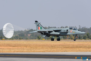 Indian Air Force Sepecat Jaguar arriving for static display.