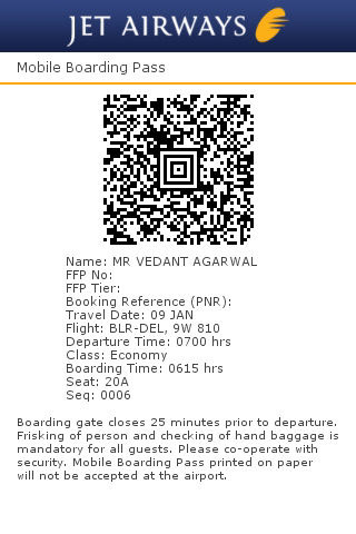 Jet Airways Begins Use Of Mobile Boarding Passes At Bangalore