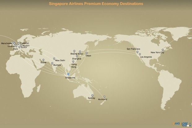 Singapore Airlines Premium Economy class route map