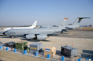 The Boeing KC-135R which accompanied the F-16s non stop from Japan.