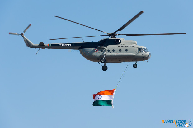 Indian Air Force Z2837 Mil Mi-8T carrying the Indian Flag.