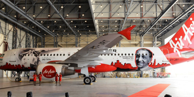 AirAsia India Airbus A320 VT-JRT in JRD Tata livery. Airline image.